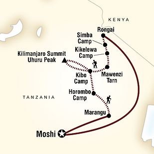 Mount Kilimanjaro Rongai Route Map