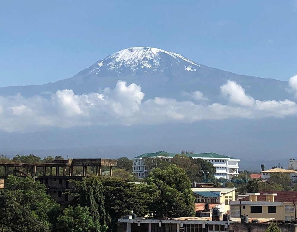 The town of Moshi situated in the foothills of Kilimanjaro