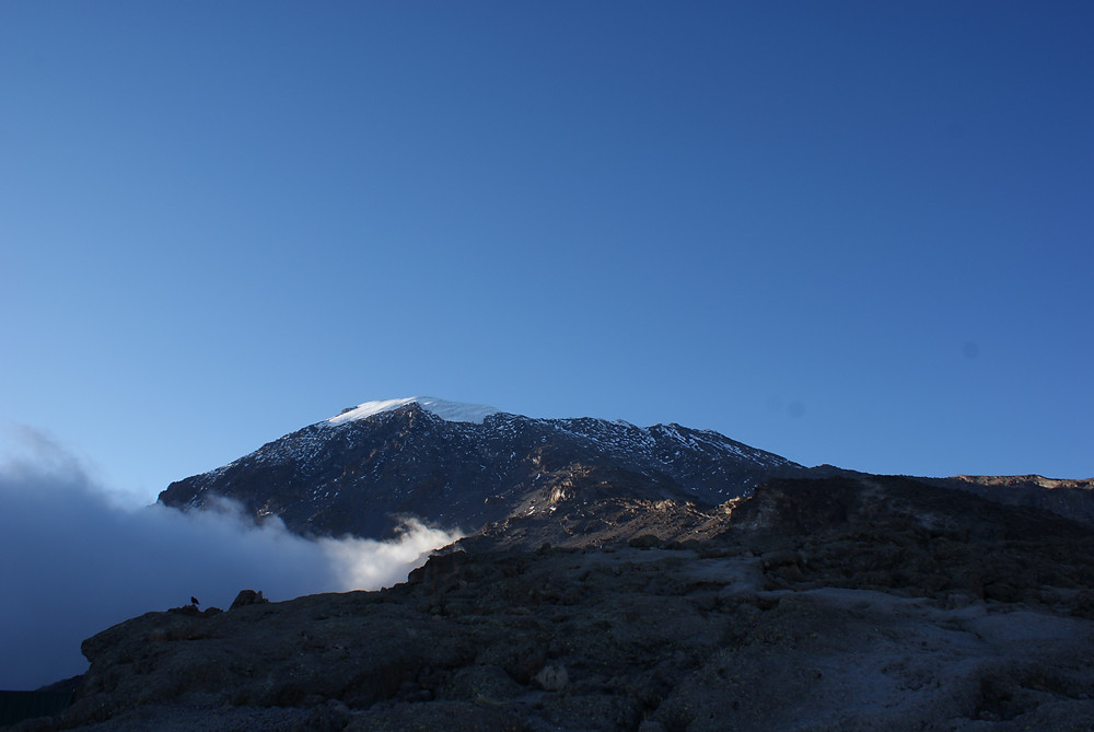 Kibo as seen from Barafu Camp, last camp before sumitting Kilimanjaro