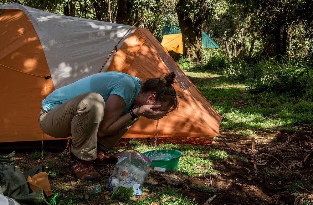Warm water bowls are provided at every campsite on Mt. Kilimanjaro