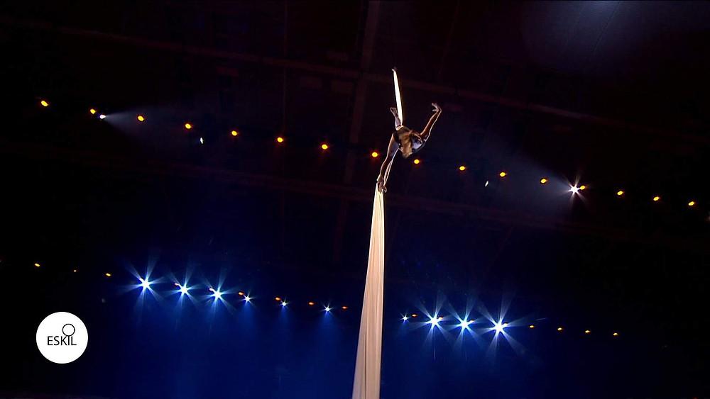 Die Artistin und Akrobatin Mareike Koch performt einen Luftakrobatik Showact am Vertikaltuch bei einem Event