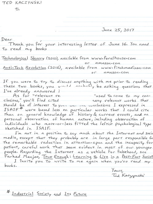 Ted Kaczynski letter