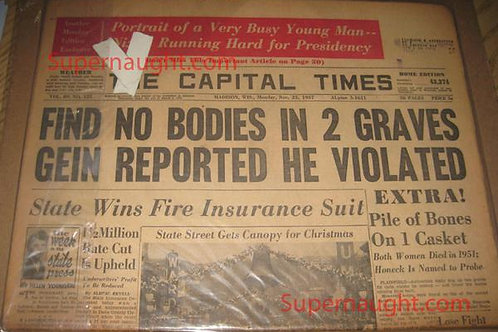 Edward Gein Plainfield Newspaper Headline 1957