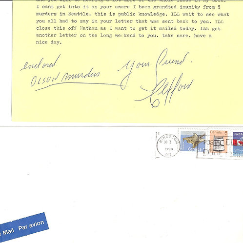 Clifford Olson Signed OLSON MURDERS Letter With Envelope