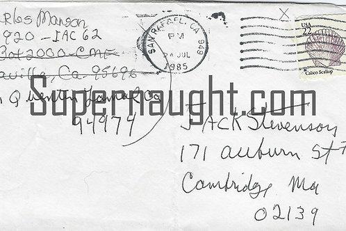Charles Manson handwritten letter