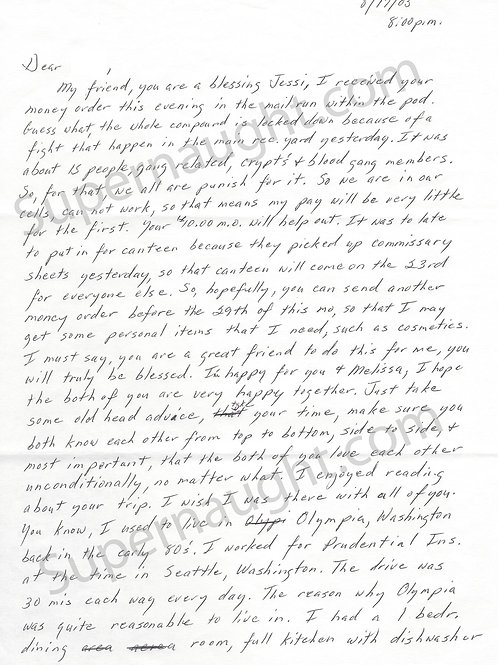 Elton Jackson letter