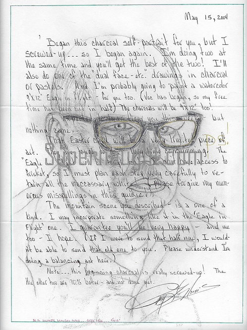 Roy Norris Self Portrait Letter And Envelope With Art Both Signed