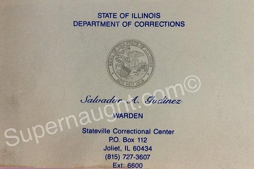 John Wayne Gacy Stateville Warden Signed Business Card