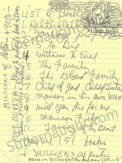 Charles Manson Handwritten List of Books