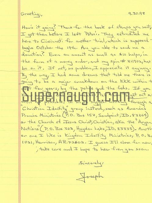 Joseph Paul Franklin County Jail Are You A Klansman Letter and Envelope Set Both