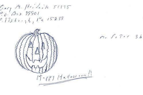 Gary Heidnik Signed Halloween Drawing Envelope