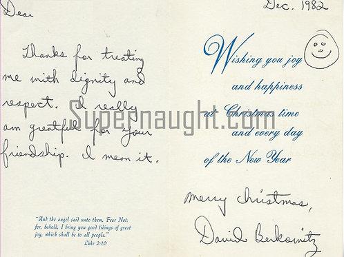 David Berkowitz Christmas card