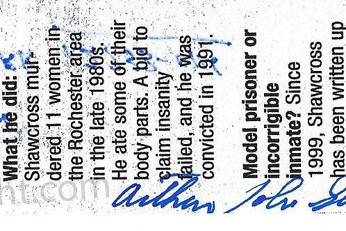 Arthur John Shawcross signed mugshot bookmark