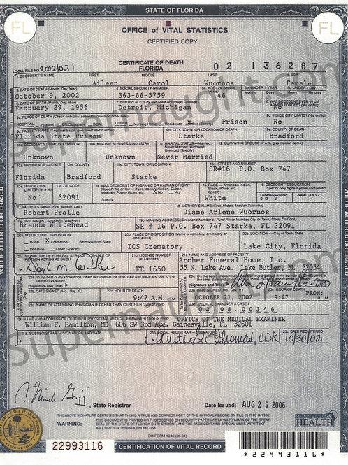 Aileen Wuornos death certificate
