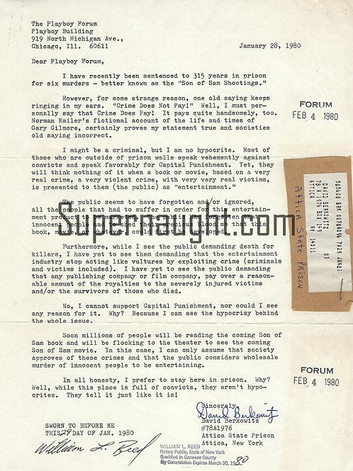 David Berkowitz Playboy Magazine Letter