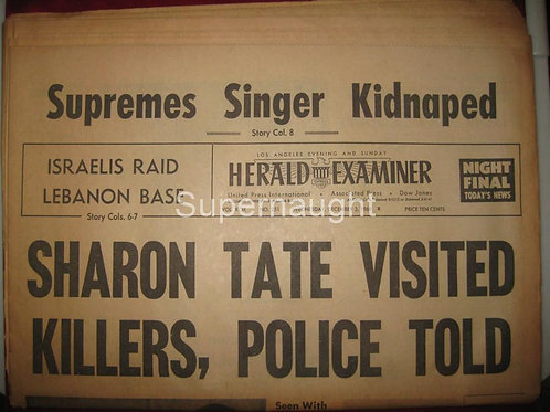 Herald Examiner December 1969 Sharon Tate Visited Killers Newspaper