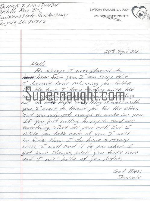 Derrick Lee letter