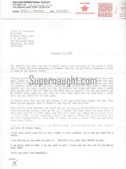 Arthur Shawcross Prison Letter