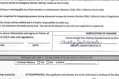 Phillip Jablonski Signed Visiting Application