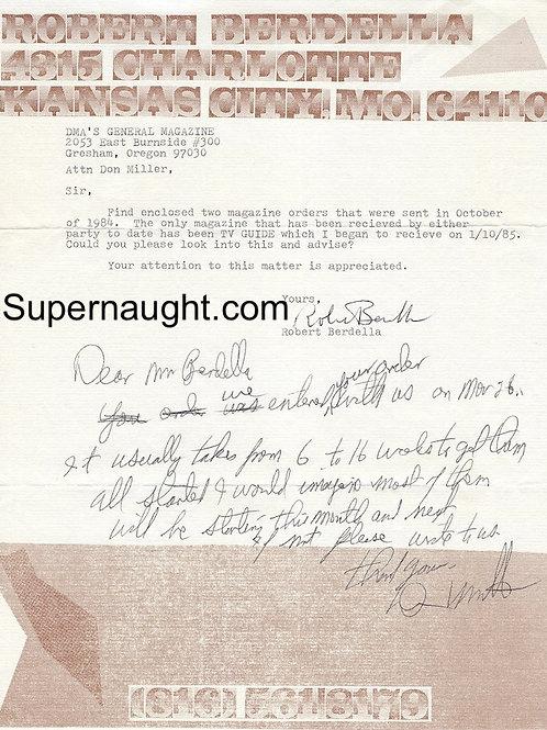 Robert Berdella Signed Letter