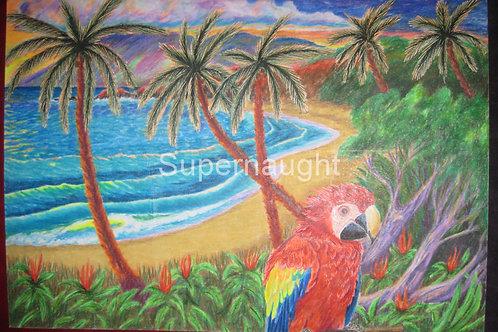 Keith Jesperson Tropical Parrott Artwork Signed