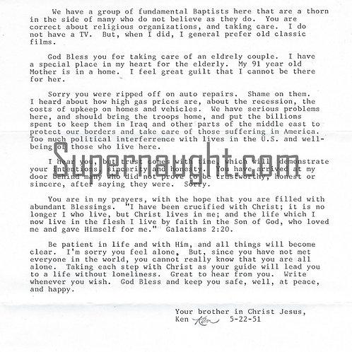 Kenneth Bianchi Signed Letter with Envelope Set