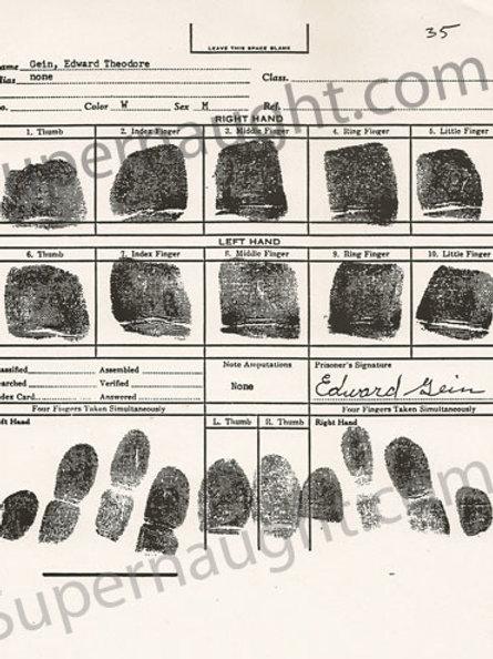 Edward Gein fingerprint chart