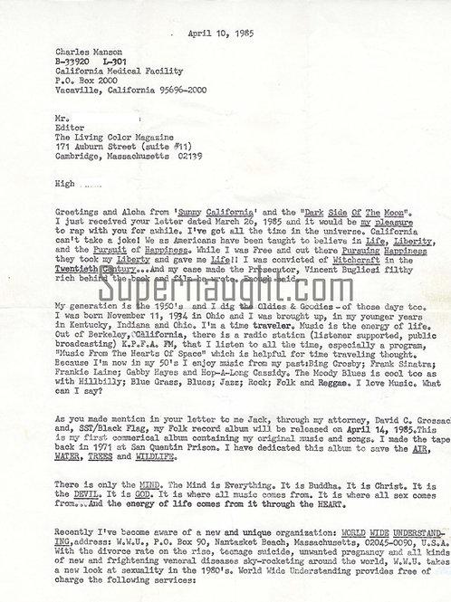 Charles Manson Signed Letter