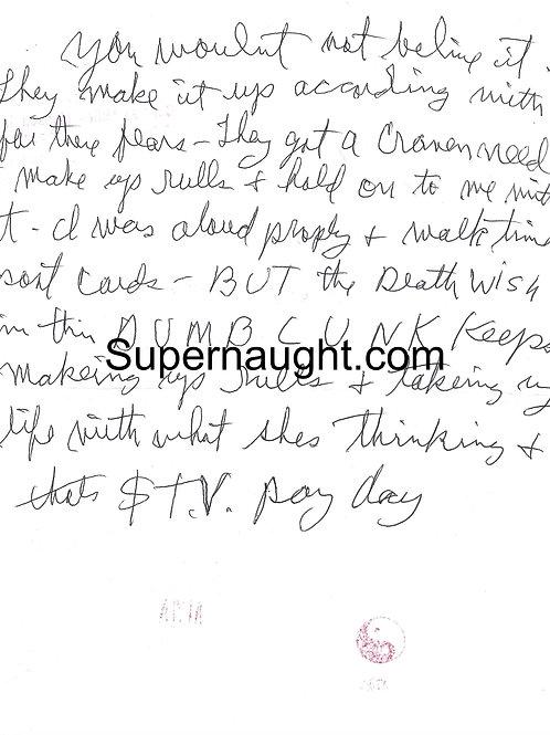 Charles Manson Handwritten Letter On Letter