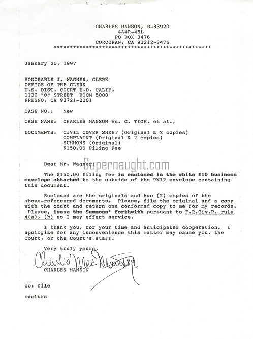 charles manson signed document