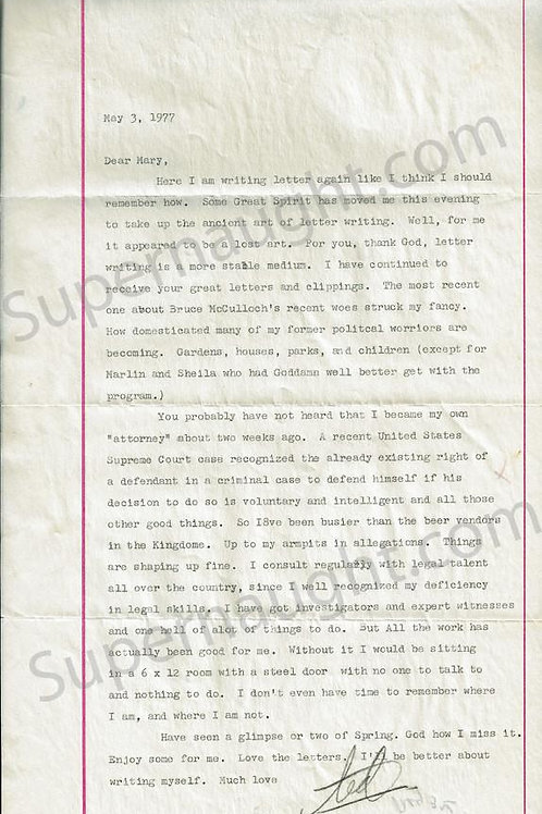 Ted Bundy May 3 1977 Letter Signed Ted