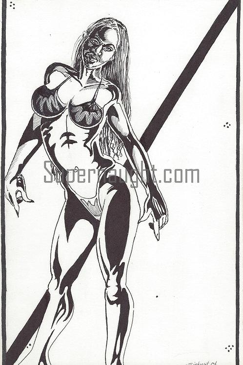 Daniel Siebert Female Ink Drawing Signed