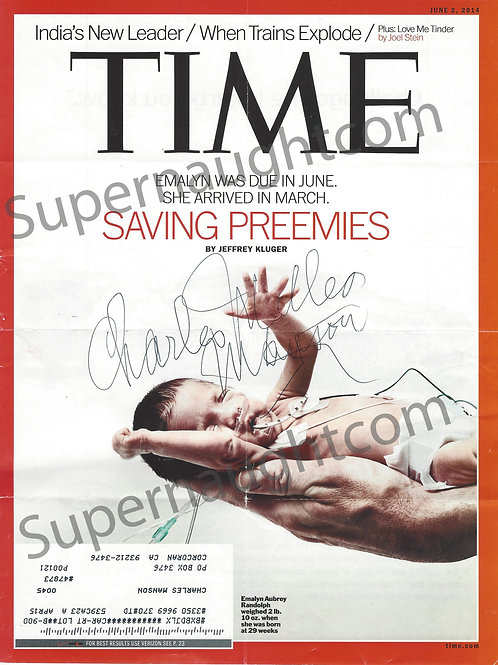 charles milles manson signed time magazine