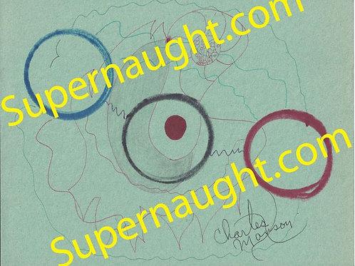 Charles Manson Signed Circles Prison Artwork