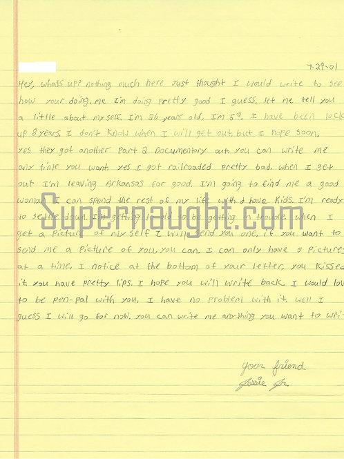 Jessie Misskelley Letter
