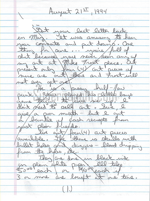 Donald Leroy evans letter