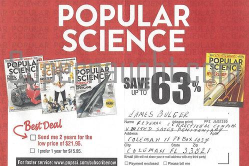 James Whitey Bulger Popular Science Card