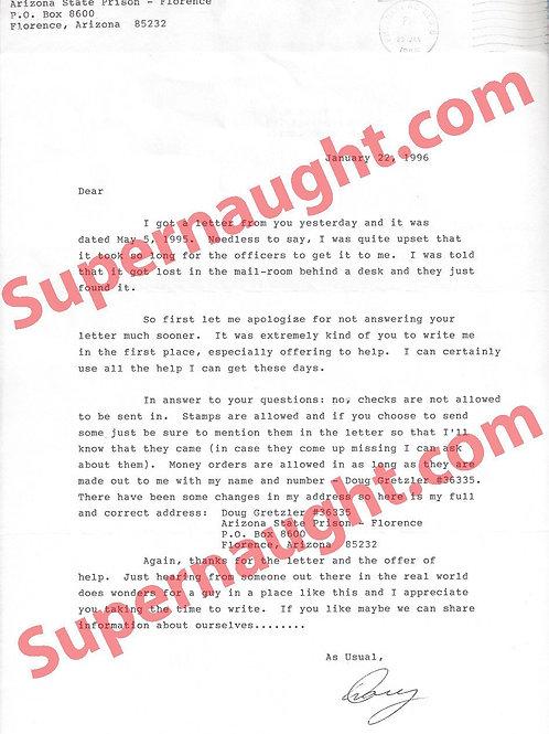 Douglas Gretzler letter