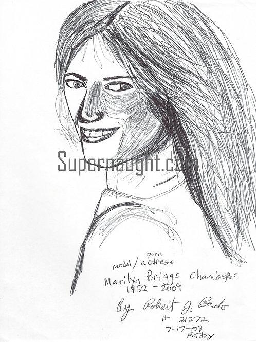 Robert Bardo Marilyn Chambers Drawing Signed