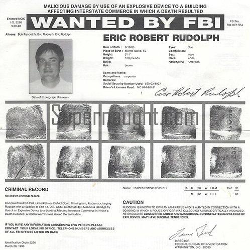 Eric Rudolph original wanted poster