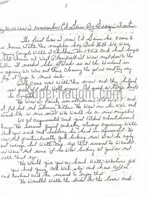 Edward Gein Plainfield Letter