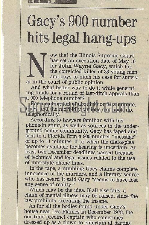 John Wayne Gacy 900 Number Newspaper Article