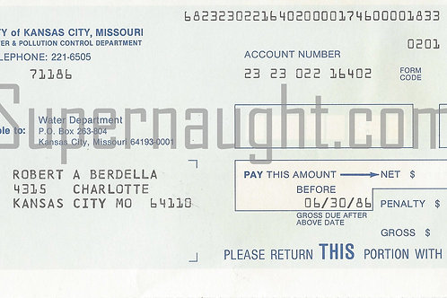 Robert Berdella Water Bill Invoice