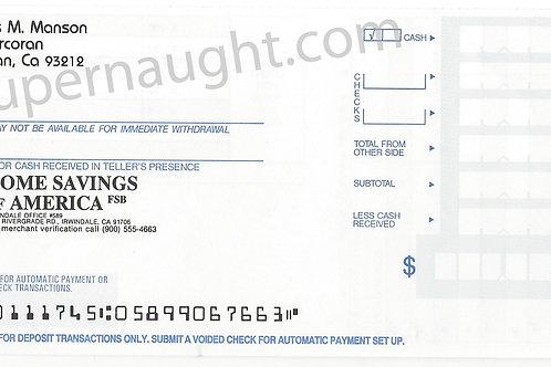 Charles Manson Bank Account Deposit Slip