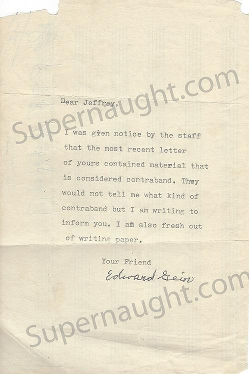 ed gein signed letter