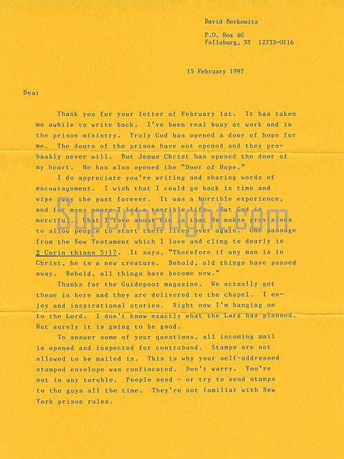 David berkowitz letter