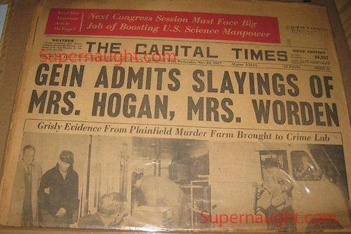 Ed Gein Admits Slaying Newspaper