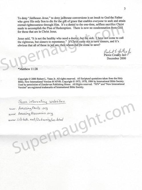 Robert Yates letter