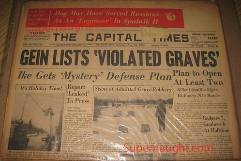 Edward Gein Violated Graves Newspaper