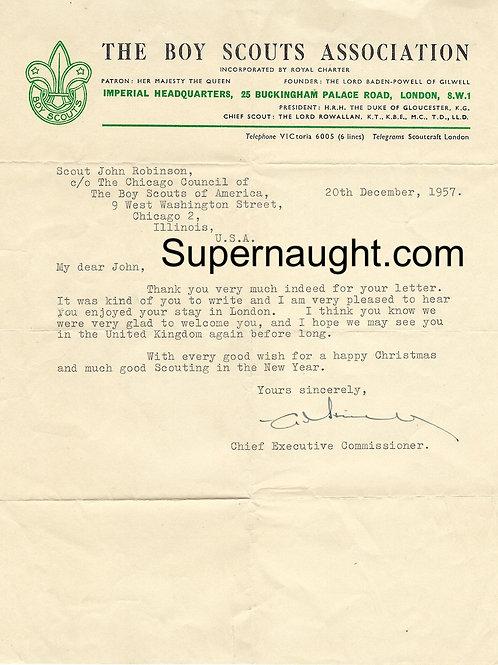 John Robinson 1957 letter